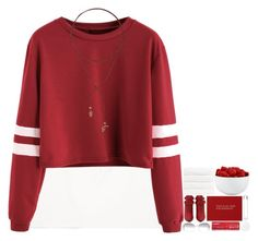 52639566484d Burgundy Varsity Striped Sleeve Crop T-shirt. See more. Converse Younger  Boy Wordmark Tee ( 21) ❤ liked on Polyvore featuring tops ...