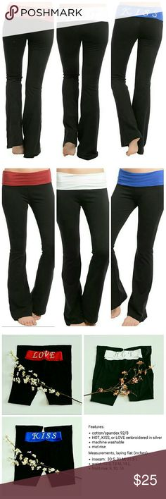 Yoga pants exercise stretch cotton LOVE KISS HOT So my gutter mind automatically goes to:  kiss my a$$,  I love my a$$,  and I have a hot a$$    Yes,  u can purchase from this listing!   Choose size and color at checkout!   Sorry,  NO TRADES  Price firm unless bundled   Save money and bundle!  Save 10 percent on any bundle of 2 or more items! Sofi + Sebastien  Pants