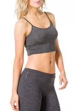 Spaghetti straps with binding around shoulder and neckline all with double needle stitching to reinforce seams Cropped length perfect for gym, yoga, or any activity Performance Jersey fabric for a feel of cotton with the benefits of advanced fiber technology   Sport Crop Top by Hardtail Forever. Clothing - Activewear Kansas