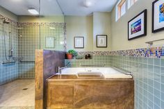 Stunning accessible roll-in shower and jetted tub.