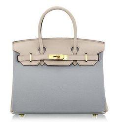 Hermes 30cm Birkin Bag in Clemence Calfskin Leather Blue,grey