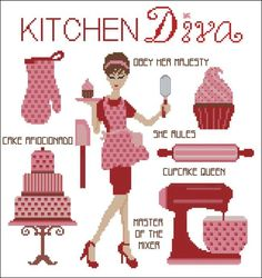 Kitchen Diva Cross Stitch PDF Chart. $7.50, via Etsy.