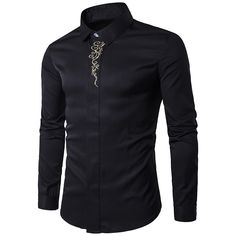>> Click to Buy << 2017 Brand New Fashion Male Shirts Mens Embroidery Turn-down Collar Long Sleeve Slim Fit Dress Shirt Casual Business Tops #Affiliate