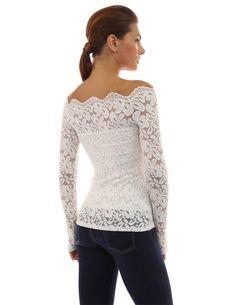 1e17e0354c9 PattyBoutik Women s Floral Lace Off Shoulder Top (Off-White L) Collar Shirts
