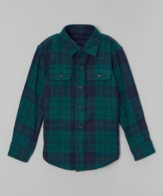 Love this Evergreen Plaid Reversible Button-Up - Toddler & Boys on #zulily! #zulilyfinds