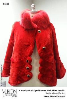 Canadian Red Dyed Beaver With Mink Details  $7,850.00  Size: 10 Lining: Silk  Can be adjusted for size  http://www.yukonfur.com/wp/product/20891-canadian-red-dyed-beaver-with-mink-details  For details call +01.416.598.3501 or email Chris, chris@yukonfur.com