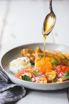 The Bojon Gourmet: Ricotta Crèpes with Whipped Ricotta, Citrus, Honey, and Mint {gluten-free}