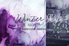 Winter Sky Purple Watercolor Washes by whiteheartdesign on @creativemarket