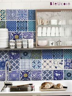 Tile decal   Indian Blue pottery 44 tile decals 22 by Bleucoin, $68.49. To cover the tiles I don't like in the bathroom until we can get it redone.