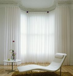 Wave curtains in bay window for Weybridge soft furnishings client Floor To Ceiling Curtains, Wave Curtains, Curtains With Blinds, Voile Curtains, Drapery, Modern Net Curtains, Lounge Curtains, Burlap Curtains, Ideas
