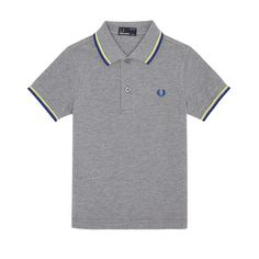 Fred Perry Kids Twin Tipped Shirt - Steel Marl/Soft Yellow/Regal