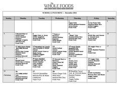 december school lunch menu (vegan)