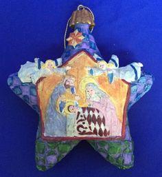 JIM-SHORE-Star-With-Nativity-Ornament-2004-Heartwood-Creek-Enesco-Box-Christmas