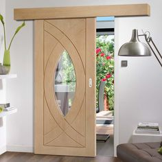 Thruslide Surface Treviso Oak - Sliding Door and Track Kit - Clear Glass - Lifestyle Image. #contemporary #doors