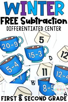 Grab these FREE differentiated winter subtraction activity centers today for 1st and 2nd grade students! Your students will love these fun math games to keep them engaged all winter long. Differentiated for two levels: subtraction to 10