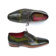 Paul Parkman Men's Side Handsewn Captoe Oxfords Green (ID#5032-GREEN) by Paul Parkman Handmade Shoes- Men - Shoes - Oxfords Pure Aiyza Shoe Passion LINK- https://aiyza.com/collections/paul-parkman-mens-side-handsewn-captoe-oxfords-green-id-5032-green Green & Yellow hand-painted leather upper     Antiqued natural leather sole     Handsewn side details on welt     Leather wrapped laces     Bordeaux lining and inner sole     Floral perforation on captoe     Men's brogue style oxfords  This is a…