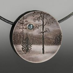 Wolfgang Vaatz: , Pendant in sterling silver with 4mm natural blue zirconia.