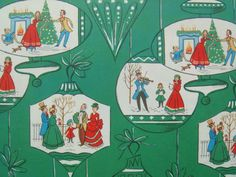Vintage Gift Wrapping Paper - An Ornamental Family Christmas Celebration - Holiday Gift Wrap - 1 Unused Full Sheet Christmas Wrapping Paper