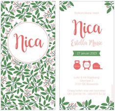 www.hetuilennestje.nl geboortekaartje Nica: Geboortekaartje, groen, roze, bloemen, bloemenpatroon, patroon, pattern, floral, flowers, meisje, fleurig, fleur, natuur, tropisch, rechthoek, zusje, planten, blaadjes, blad.