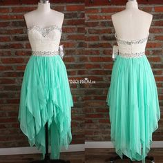 Turquoise High Low Ruffle Prom Dress With Lace Bodice - pinkyprom.uk #prom2k15 #prom2k16