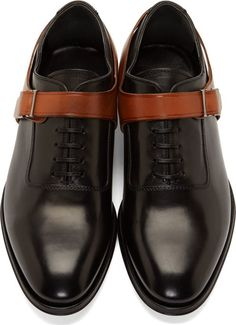 Alexander McQueen Black Leather Harness Oxfords