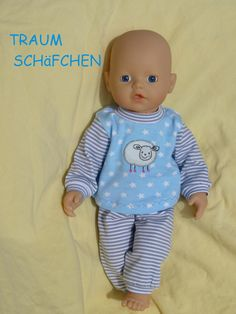 """Puppenkleidung - """"TraumSchäfchen"""" Schlafanzug 2tlg Set Gr.30-35cm - ein Designerstück von handgeschick bei DaWanda"""