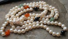 Perlenketten - Perlenkette lang 124 cm Onyx Aventurin Carneol - ein Designerstück von edelsteinreich bei DaWanda
