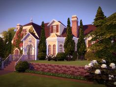 This gorgeous and comfy mansion is your Sims' dream estate. It has four bedrooms (one is a master bedroom), four bathrooms, two cars garage and an amazing backyard with a pool. Found in TSR Category 'Sims 4 Residential Lots'