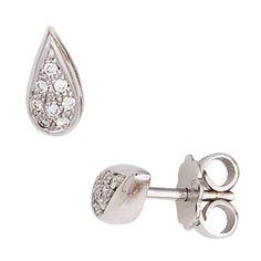 Ohrstecker Tropfen 585 Gold Weißgold 16 Diamanten Brillanten 0,08ct. Ohrringe   eBay