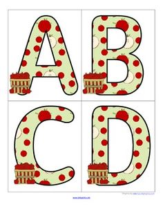 Apples Theme Set of Large Alphabet Letters - FREE