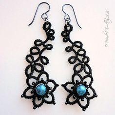 Black Tatted Earrings by Marilee Rockley