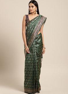Sareetag Green  Designer Classic Party Wear Saree Tussar Silk Saree, Art Silk Sarees, Chiffon Saree, Embroidered Clothes, Embroidered Silk, Bridal Sarees Online, Plain Saree, Teal Green, Green Art