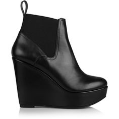 Fille leather wedge ankle boots ($275) ❤ liked on Polyvore featuring shoes, boots, ankle booties, booties, heels, leather wedge bootie, wedge heel booties, heeled booties, ankle boots and wedge ankle boots