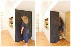 This cleverly placed chalkboard is actually a door, and behind that door is a staircase leading to a second level...