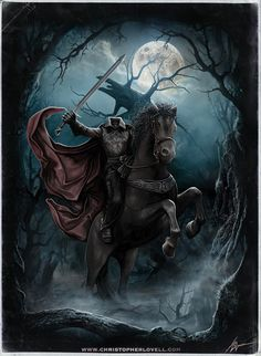Sleepy Hollow - Headless Horseman by Lovell-Art on DeviantArtYou can find Sleepy hollow and more on our website.Sleepy Hollow - Headless Horseman by Lovell-Art on DeviantArt Halloween Kunst, Halloween Artwork, Halloween Pictures, Halloween Horror, Vintage Halloween, Samhain Halloween, Arte Horror, Horror Art, Sleepy Hollow Headless Horseman