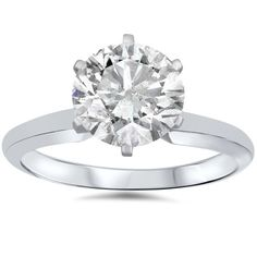 White Gold 1 Carat Diamond Round Solitaire Engagement Ring Enhanced ((D), Engagement Ring Guide, Round Solitaire Engagement Ring, Diamond Solitaire Rings, 1 Carat, Thing 1, Bronze, Forever, Topaz, White Gold