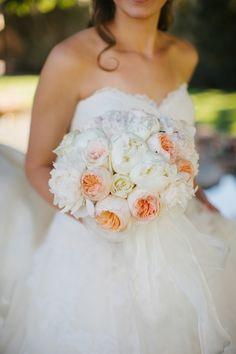 Ashley Gain Weddings Arizona Biltmore Resort Bridal Bouquet Orange Garden Roses Peonies Cream
