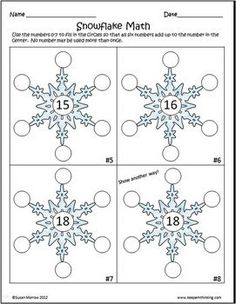Snowflake Math Brain Bogglers - Susan Morrow - TeachersPayTeachers.com