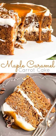Spiced carrot cake layers infused with maple syrup and topped with maple caramel& Spiced carrot cake layers infused with maple syrup and topped with maple.Spiced carrot cake layers infused with maple syrup and topp Cupcake Recipes, Baking Recipes, Cupcake Cakes, Dessert Recipes, Poke Cakes, Layer Cakes, Baking Ideas, Pie Recipes, Recipies
