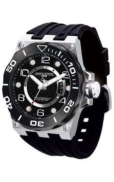 Jorg Gray JG9600-12 Men s Watch Black Dial Swiss Movement With Black  Silicone Rubber Strap 6821f0eab9b