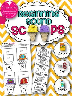 The Moffatt Girls: Beginning Sound Scoops! Color,cut and paste the beginning sound onto the correct ice cream cone! Alphabet Activities, Literacy Activities, Preschool Letters, Literacy Centers, Teaching Letters, Reading Centers, Speech Language Therapy, Speech And Language, Language Arts