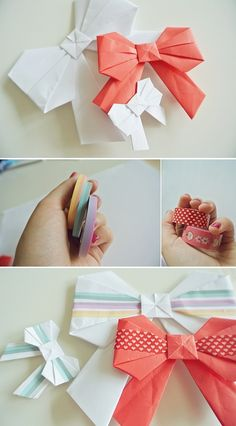 origami bows, decorated with masking tape. tutorial here: htp://www.origami-instructions.com/origami-bow.html