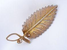 Wine Leaf Vintage Silver Brooch perfect detail portuguese filigree