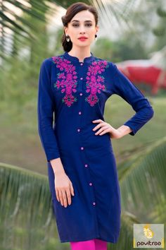 Get the most trendiest glamour in blue color trendy rayon women tunic for office wear. Shop embroidery designs simple casual wear kurtis online paired with leggings. #kurti, #casualkurti more: http://www.pavitraa.in/store/casual-kurtis/
