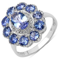 925 sterling silver with rhodium plating flower tanzanite ring