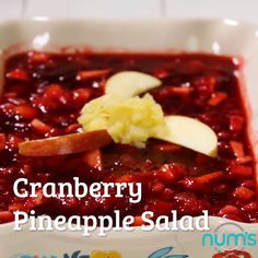 This tasty Cranberry Pineapple Salad is so easy to make. It's delicious, festive and makes the perfect side dish to any family dinner or Holiday. Cranberry Recipes Thanksgiving, Cranberry Salad Recipes, Fruit Salad Recipes, Holiday Recipes, Fresh Cranberry Salad, Cranberry Sauce, Sides For Thanksgiving Dinner, Cranberry Walnut Salad, Recipes