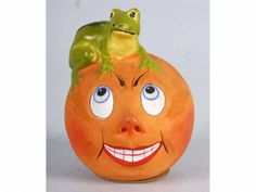 German Frog on Jack-O-Lantern Candy Container.