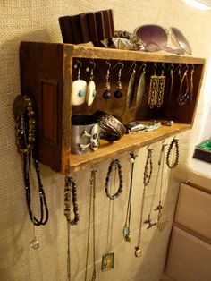 Upcycled Jewelry Organizing Display (Wood Drawer 18). $58.00, via Etsy. Outdoor craft display. Hanging from tent