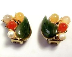 Vintage Swoboda earrings with jade, pearls, and quartz