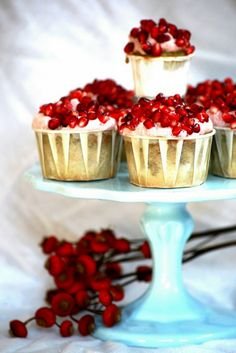 Pomegranate Green Tea Cupcakes. Looks fantastic and must taste delicious as well